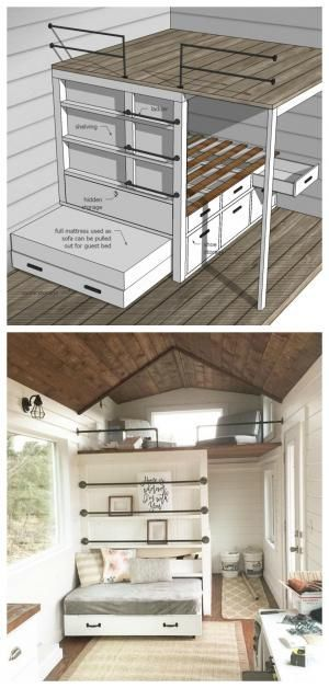 incredible diy loft area with tons of functionality - sofa pulls out to guest bed, framing is storage, hidden storage, double sleeping loft, and more